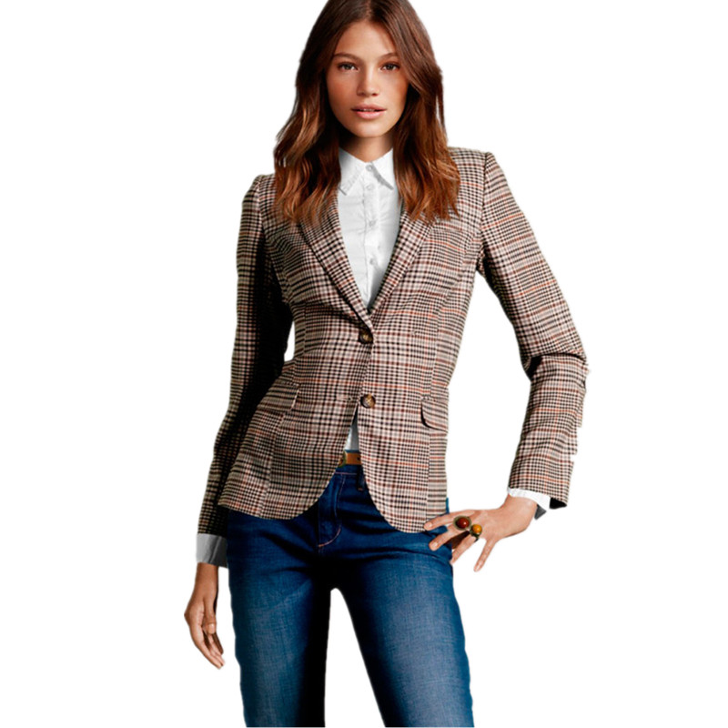 Autumn Women Plaid Blazers And Suit Jackets British Vintage Slim Female Work Long Sleeve Checked Patch Elbow Small Blazer Suits Discounts Sale