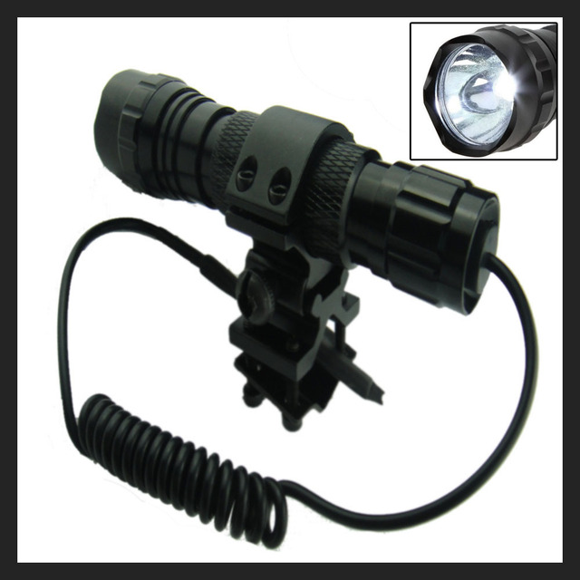 501B Cree XML T6 White Led Hunting Tactical Flashlight Weapon mounted lights with Switch+Universal Barrel Mount