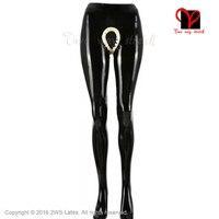 Sexy Látex pés Meia-calça virilha aberta calças pantalonas preta de Borracha Gummi Bottoms plus size justas calças XXXL