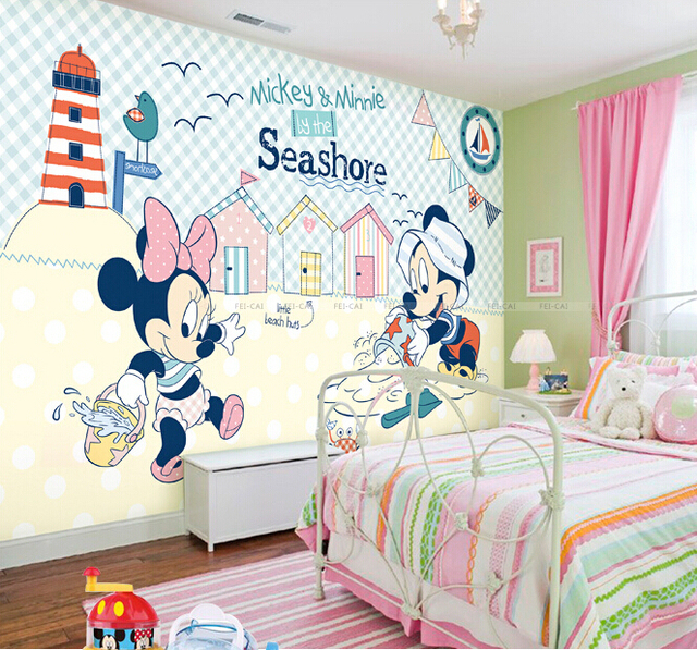 Wholesale 3d Wall Murals For Baby Kids Room 3d Photo Mural Bedroom Mickey  Mouseu0026Minnie Mouse 3d Wall Cartoon Murals