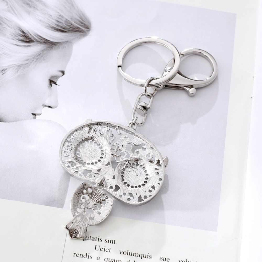 Подарок золотые Посеребренные шарики животное перо колокольчики брелок для ключей в форме Совы женский Винтажный Индийский стиль брелок