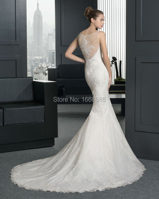 Free Shipping Wd 1979 Y Spaghetti Straps Sheer Back Fish Wedding Dresses Roman Style Lace