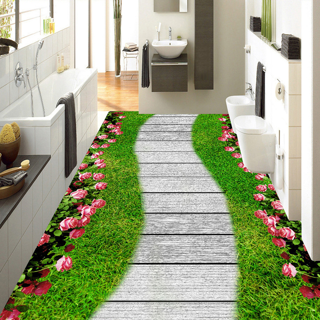 Benutzerdefinierte Fotowand Papier Rollen Grüne Gras Blumen Kleine ...