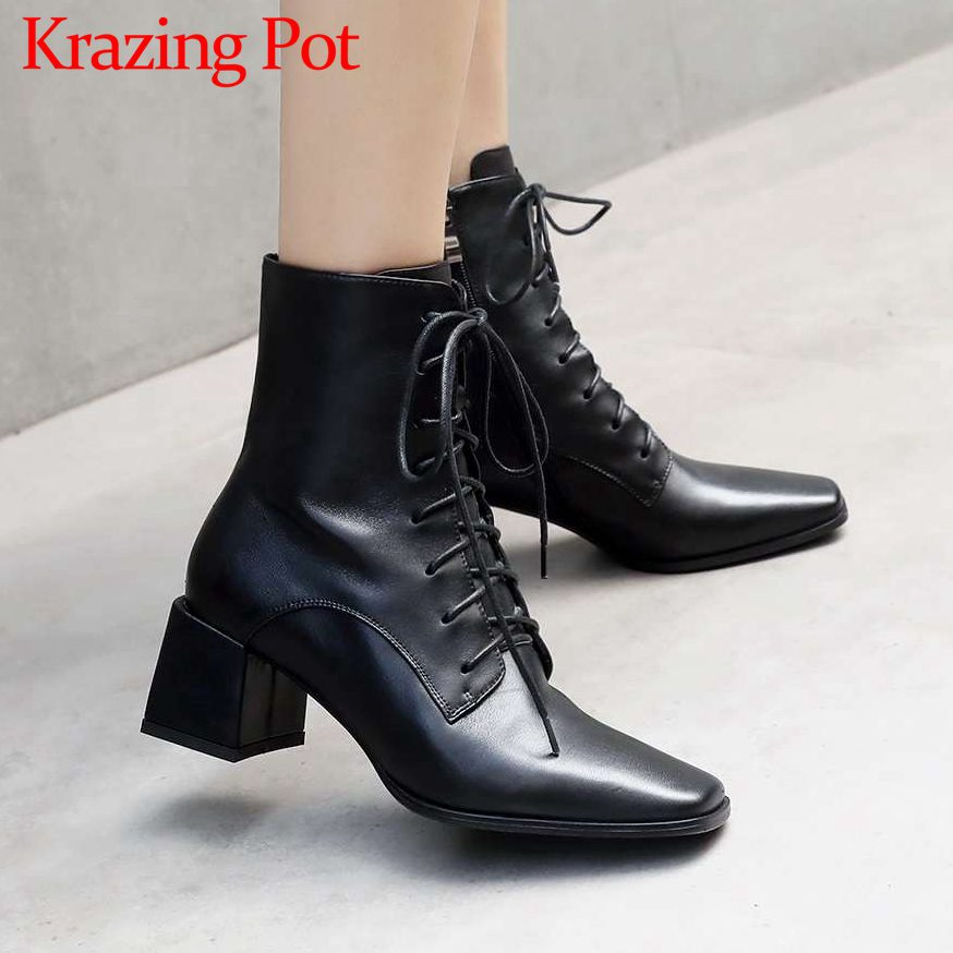 Eueopean style zip real cow leather big size med heels popular square toe motorcycle boots rock