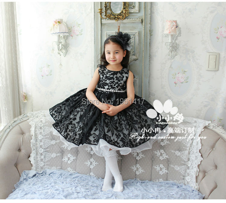 2016 Fashion Girl Black Bud Silk Dress Free Shipping Beautiful Baby Girl's Clothes Can Be Customized Factory Direct Sale Price 2016 summer fashion dresses of the girls beautiful female baby lace dress can be customized factory price direct selling