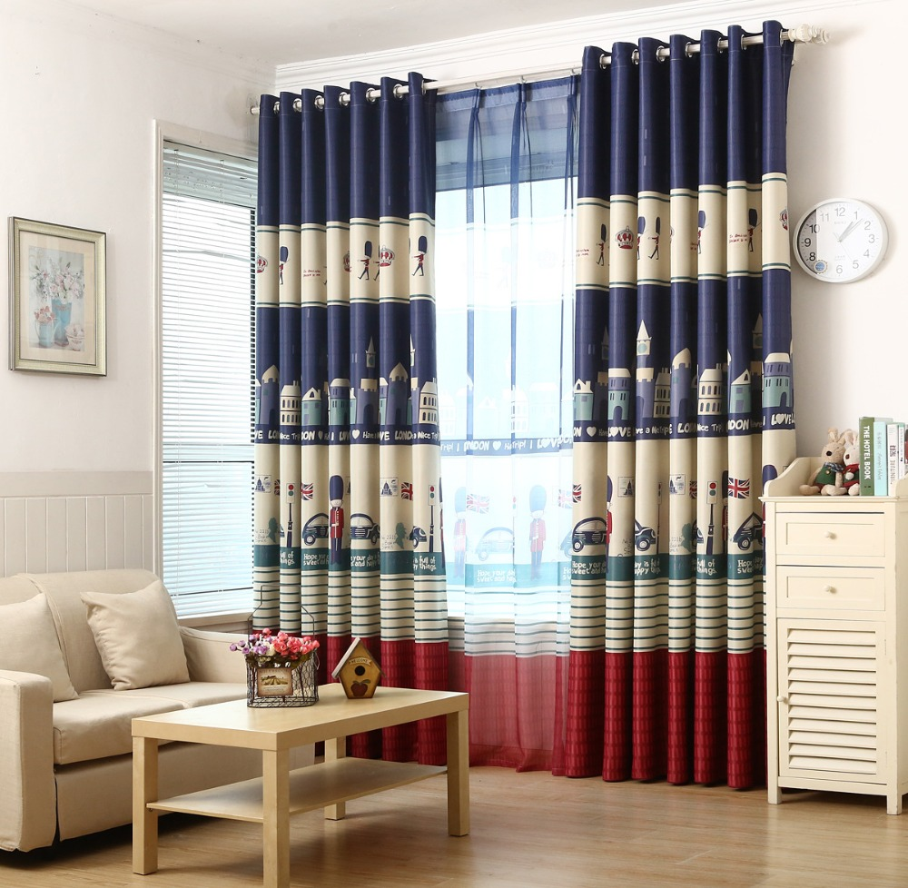 blauw britse stijl kinderen gordijnen slaapkamer ramen en kamerhoge gordijnen verduisterende stof mediterrane stijl in blauw britse stijl kinderen gordijnen