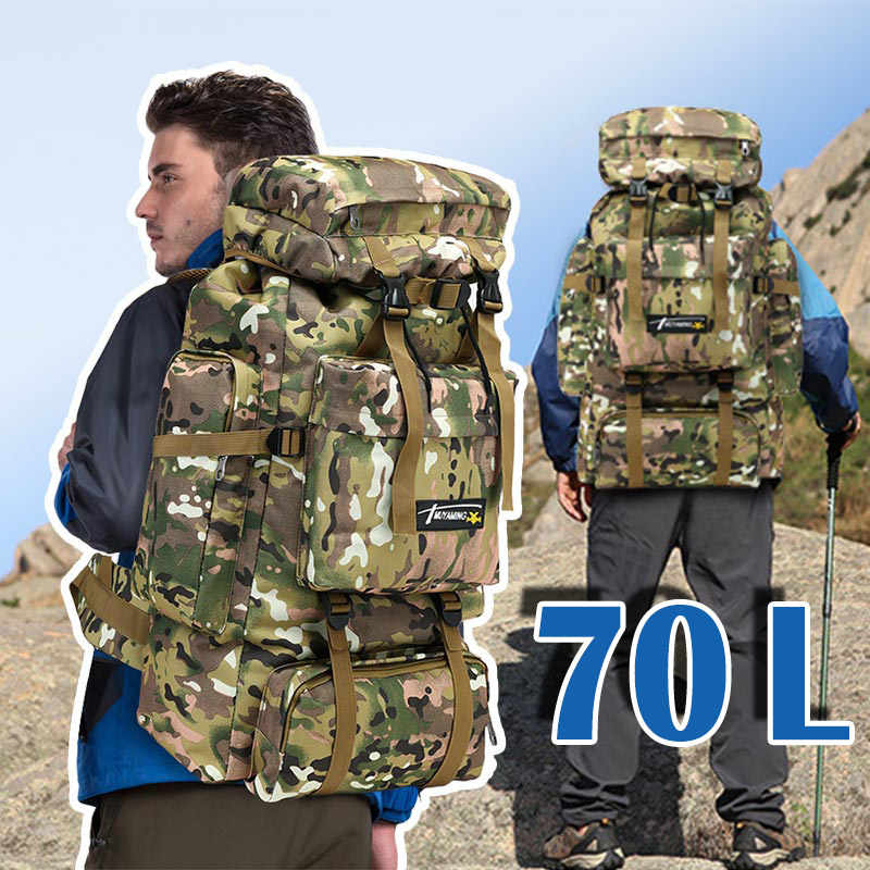 70L Tactical Men Bag Military Backpack Mountaineering Sport Outdoor Travel Bags Molle Backpacks Hunting Camping Rucksack Tas
