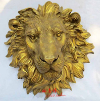 animal head sculpture for home Art pure copper sculpture carvings fierce beast of prey lion head statue Garden Decoration Brass