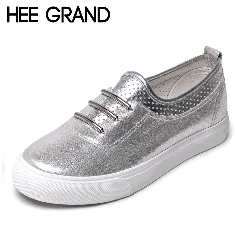 Detail Feedback Questions about Hee Grand Bling Bling Comfort Casual Woman  Shoes 2018 Convenient Spring Style Sliver Flats Lace Up Woman Creepers Shoes  ... c71ae0d309e0