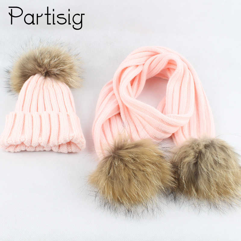 Baby Winter Hat Real Raccoon Fur Cap Scarf For Girls Boys Hat With Fur Ball All For Children's Accessories And Clothing