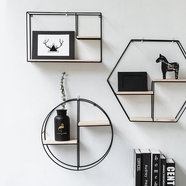 Innovative Geometric Shape Living Room Storage Rack Wall Shelf Wall-mounted Decoration Pendant Restaurant Porch Room Decor 3