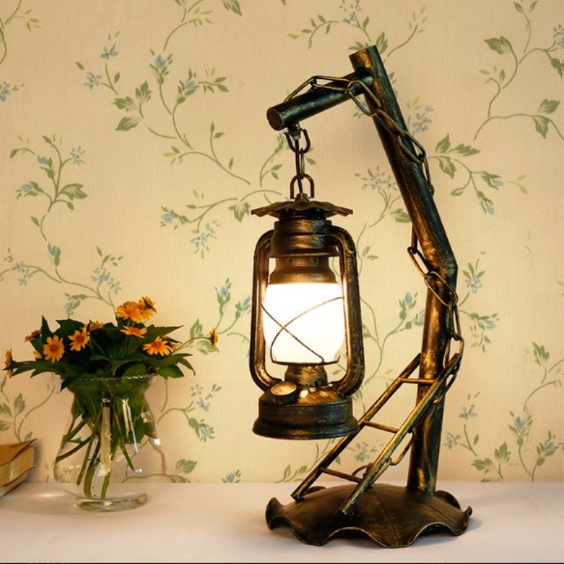Creative Exotic Classical Retro Lantern Iron Glass Led E27 Table Lamp for Living room Ba ...