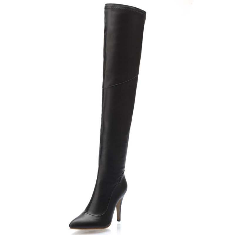 ФОТО New Long Boots Winter Fashion Zipper Decoration Knee High Boots Night Fine Heel Platform Women Boots for women