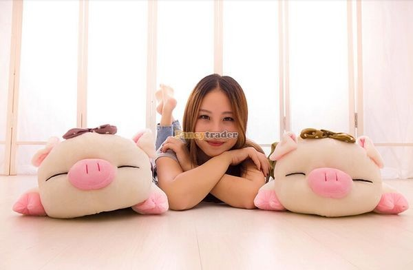 Fancytrader Hot Selling 35\'\' 90cm Super Lovely Soft Stuffed Giant  Lying Pig Toys ,3 Colors Available!Best Gift and Decoration for Kids, Free Shipping FT50069(2)