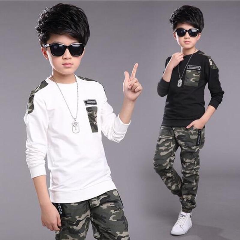 2017 Brand Autumn Spring Boy Sport Print Camouflage Clothes Set T-shirt+Pants Kid School Hip Hop Perform Fashion Dance Suit sdmo perform 5500 t