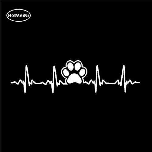 HotMeiNi Dog Paw In Ekg Nhịp Tim Thời Trang Xe Nhãn Dán Decal Vinyl Cho Cửa Sổ Bumper Máy Tính Xách Tay Không Thấm Nước Màu Đen/Bạc 16*2.8 cm