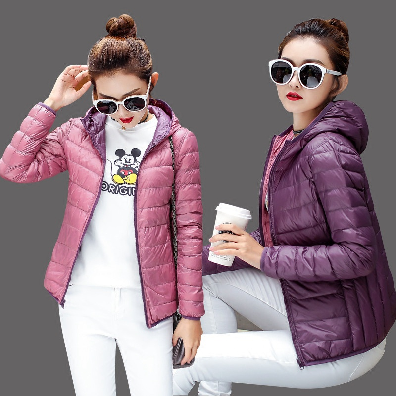 2018 thin duck down two sides wear coat   jacket   utumn Women Bomber   Basic     Jacket   Pocket Zipper Hooded double wear spring outwears