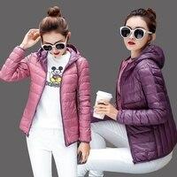 2018 thin duck down two sides wear coat jacket utumn Women Bomber Basic Jacket Pocket Zipper Hooded double wear spring outwears