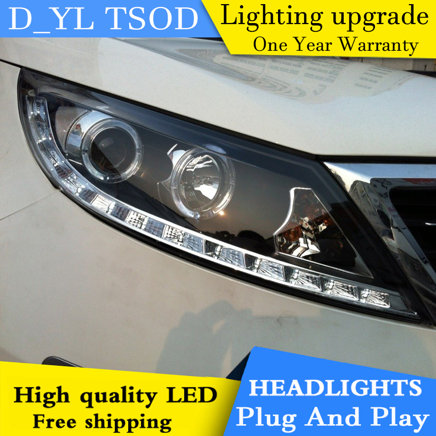 Car styling for Kia Sport LED Headlights 2011 2014 Headlamp assembly Turn lights DRL lens H7 HID xenon bi xenon lens Accessories