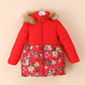 2016 New High Quality Flowers 2016 Brand New Girls Coats Children Winter Outwear Flowers Pattern Kids Jackets 2 Color