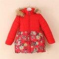 2016 Novas Flores de Alta Qualidade 2016 Nova Marca Meninas Casacos Crianças Teste Padrão de Flores de Inverno Outwear Crianças Jaquetas 2 Cores