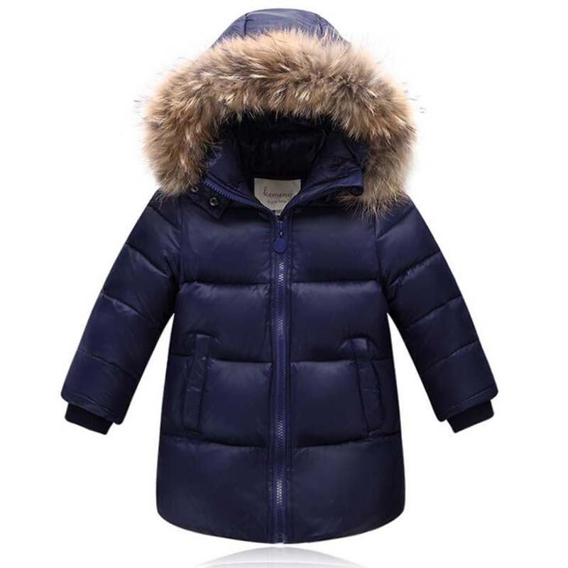 for 2-12Years Children Fur Collar Jackets Boys Girls White Duck Down Coats Casual kids winter warm long outwear solid color