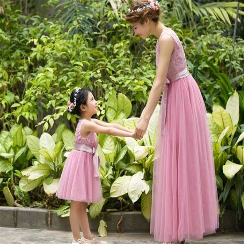 Family Kids Pageant Lace Communion Dresses For Girls Flower Girl Dresses For Weddings Mother And Daughter Matchin Dress
