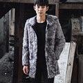 CR096 genuino de los hombres de piel de oveja real escudo abrigos largos de invierno cálida lana real de una chaqueta de piel/chaquetas abrigos con capucha
