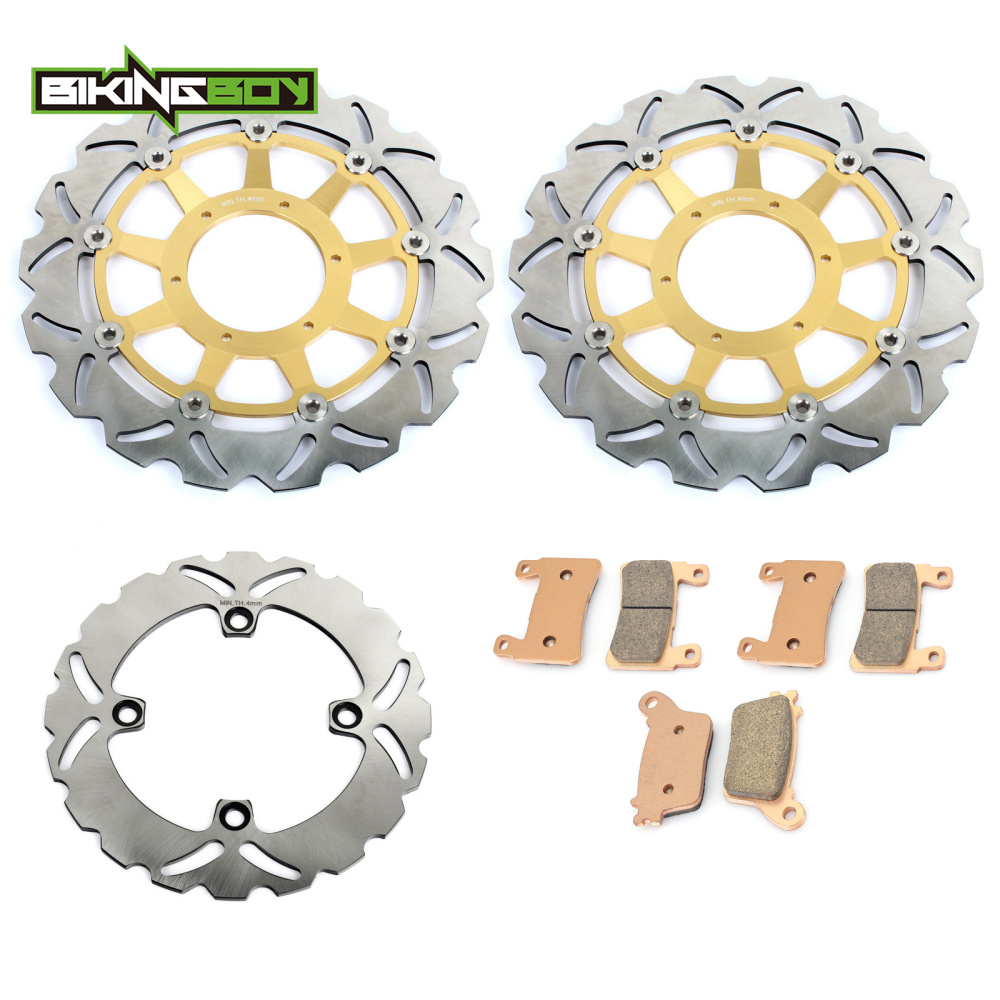 BIKINGBOY Motorcycle Front Rear Brake Disk Disc Rotor Pad for Honda VTR1000 VTR 1000 RC51 SP1 SP2 2007 2006 2005 2004 2003 02 01 motorcycle front brake rotor disc for kawasaki klv 1000 2004 2005 2006 2007 supermoto motorcross