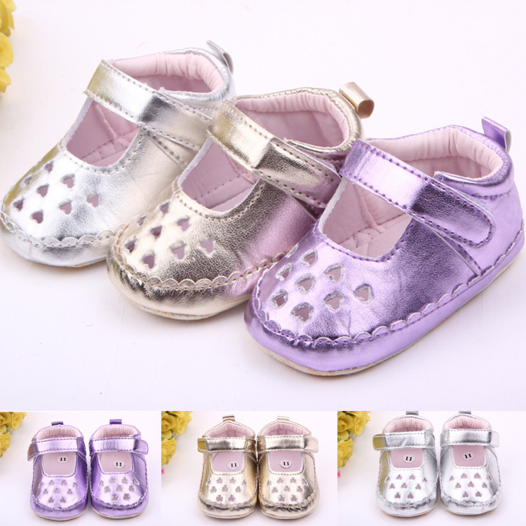 Classic Children Baby Kids Boy Girl PU Breathability Heart Floor Shoes Autumn Fashion Non-Slip Soft Toddlers First Walkers