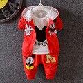 2016 Nueva ropa de los Bebés Fija niños 3 UNIDS coat + T shirt + Pants niños sportsuits de Dibujos Animados niña trajes