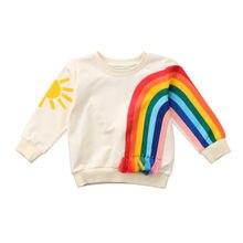 Модная одежда для детей, Детская мода для девочек Малыш Радуга футболка верхняя одежда Блузка свитер Толстовка для маленьких девочек одежда