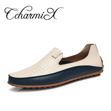 CcharmiX Causal Shoes Men Loafers High Quality Leather Moccasins Men Driving Shoe Flats for Man Plus Size 36-47 Business Flat(China)