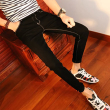 2016 Men's stretch jeans nine feet 9 pants Slim jeans male harem pants