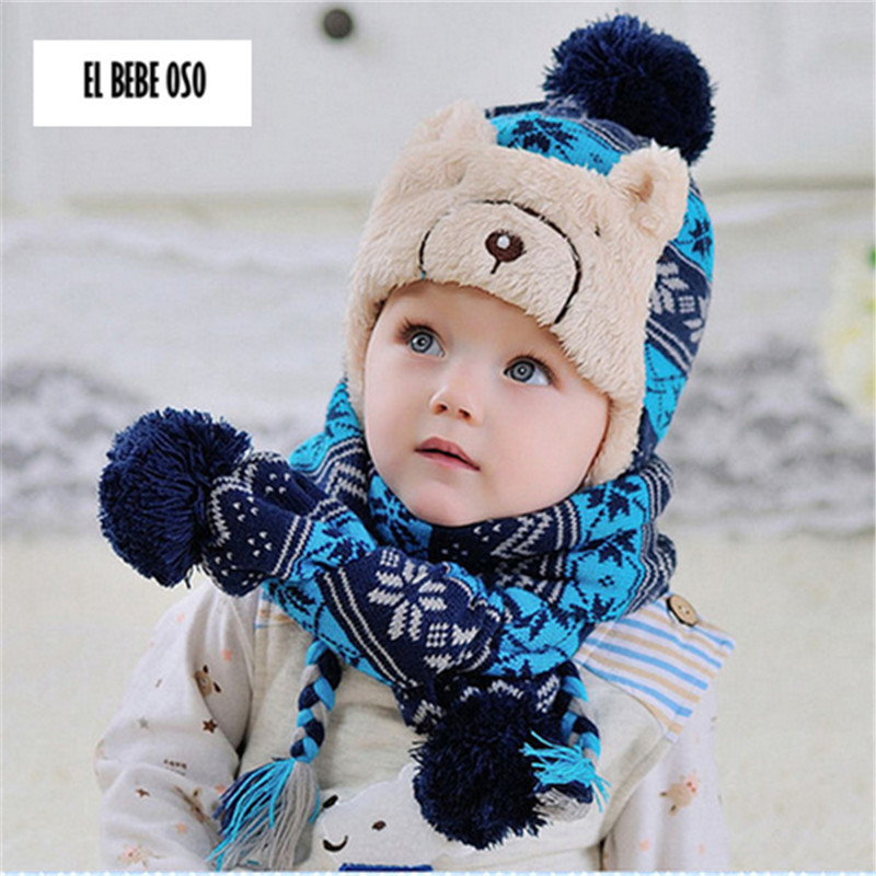 ELBEBEOSO Kids Warm Knitted Hats  Scarf Set 2 Pieces Casual Bomber Cashmere  Toddler Shawl Hat Accessories for Children Retail-in Hats   Caps from  Mother ... f459e2be06d
