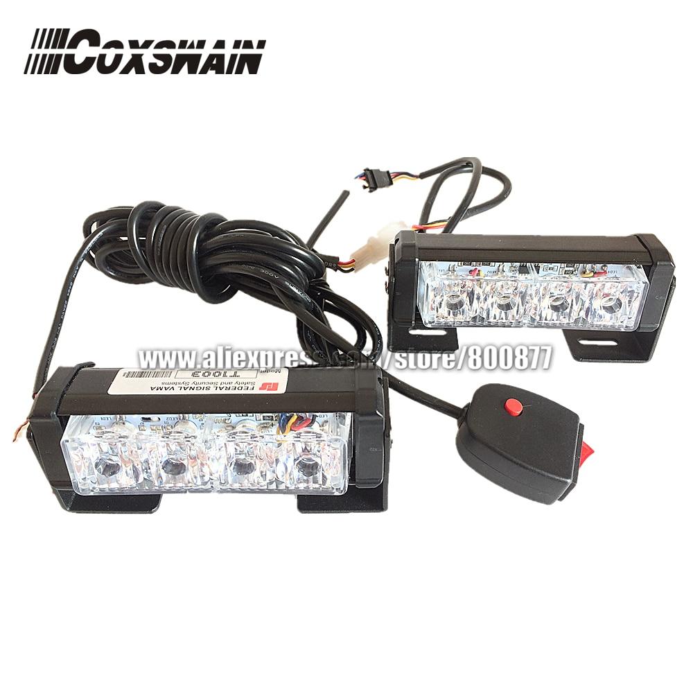 Dual Color 2X4 LED Universal Car Warning Strobe Flash Warning EMS Ambulance Emergency Light, 13 Modes DRL Grill Light (CS-4D-2)