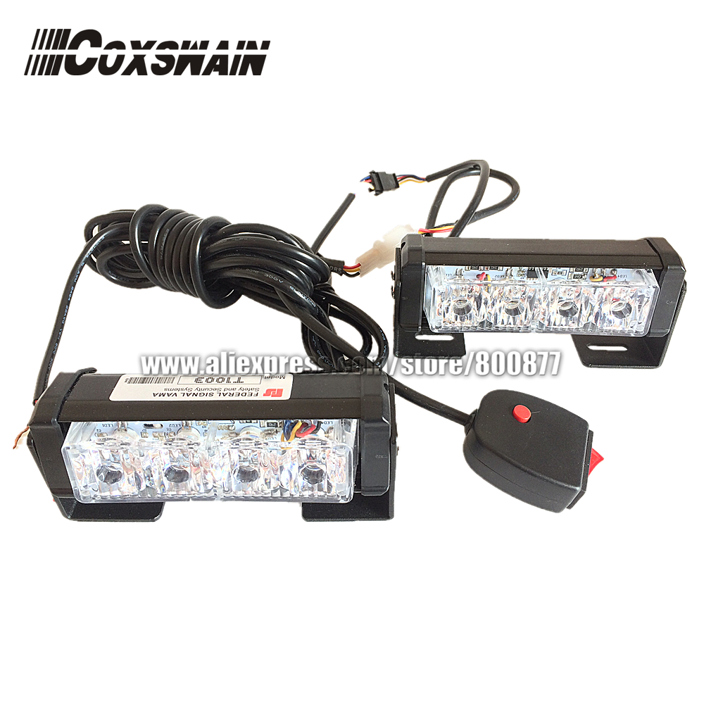 Doble color 2X4 LED Advertencia universal de flash estroboscópico del automóvil Advertencia EMS Police Emergency Light, 13 modos DRL grill light (CS-4D-2)