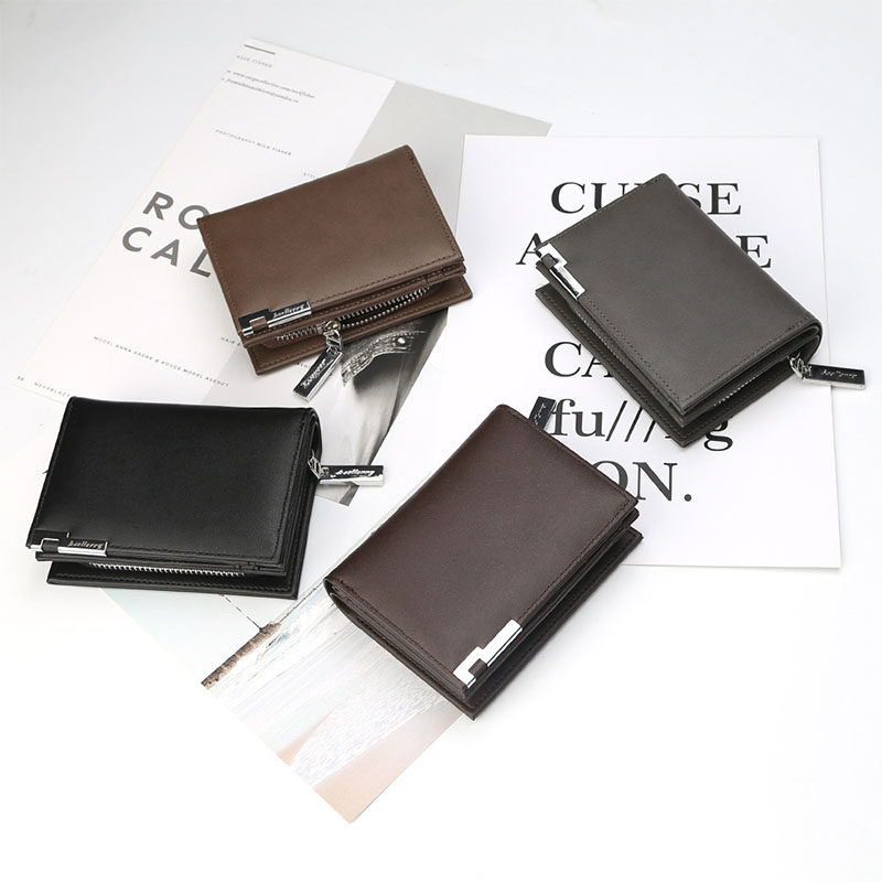Baellerry Wallet Men Leather Short Luxury Famous Brand Men Wallets Zipper Male Clutch Coin Purses Money Bag Card Holder Fashion in Wallets from Luggage Bags