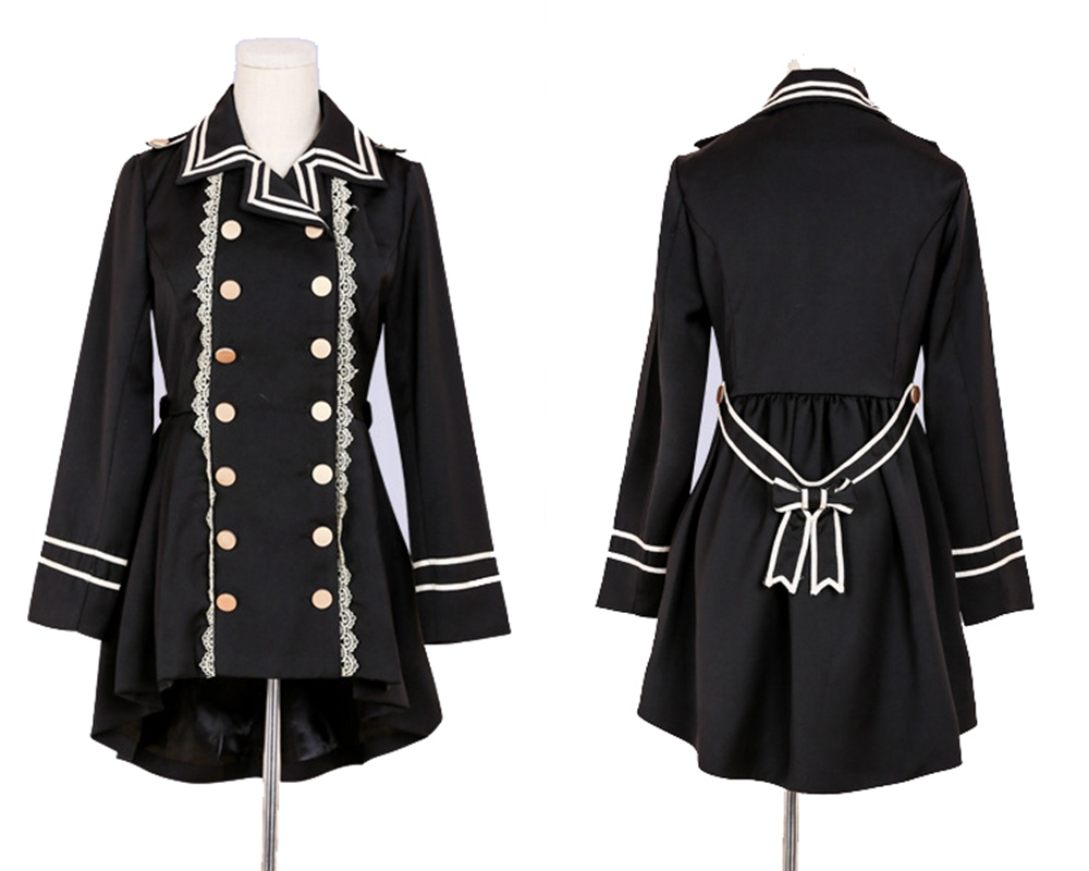 Lolita   Trench   Handsome Girls Lace Swallow-tailed Double-breasted Black Coat
