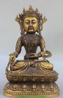 S5134 12 Китайский Тибет Буддизм Чистая Бронзовый Будда шляпа Шакьямуни
