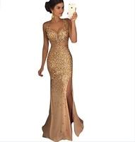 Dreambridal Sexy Prom Dress Gold Rinestone Beaded V Neck Mermaid Prom Dresses Backless Party Dress Vestido