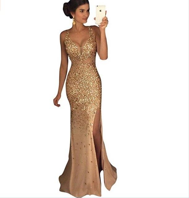 Dreambridal Sexy abendkleid Gold rinestone perlen v ausschnitt nixe ...