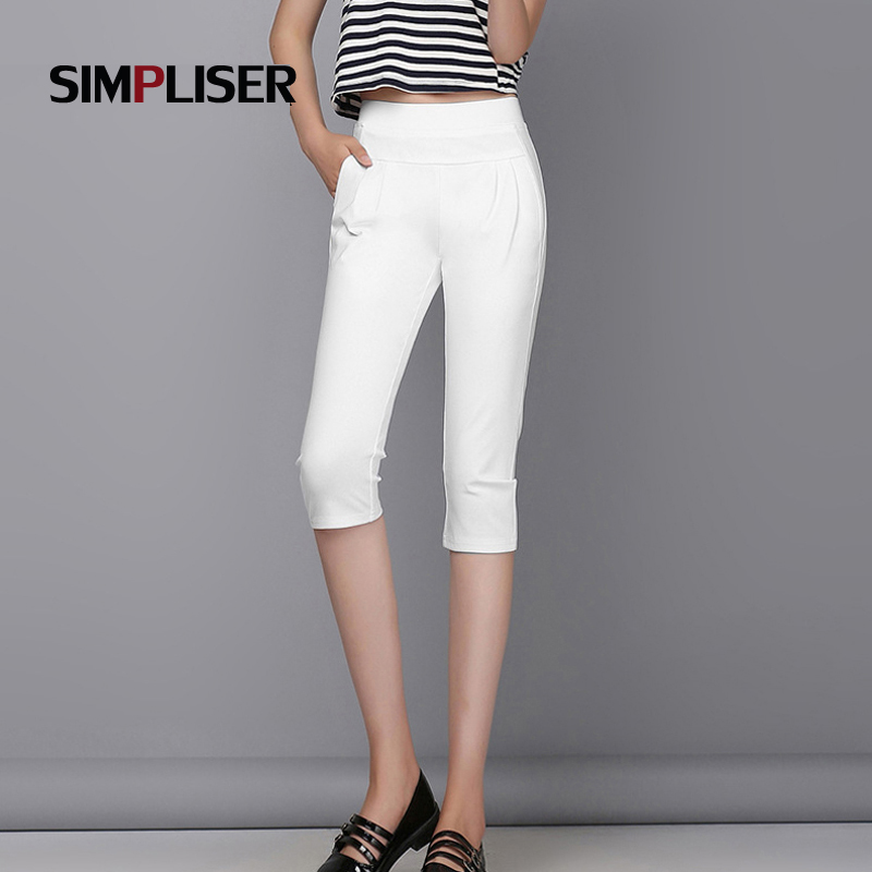 2019 Summer Capri   Pants   For Women Casual Harem   Pants   Ladies White Black Orange Cool Trousers Female   Capris   High Waist