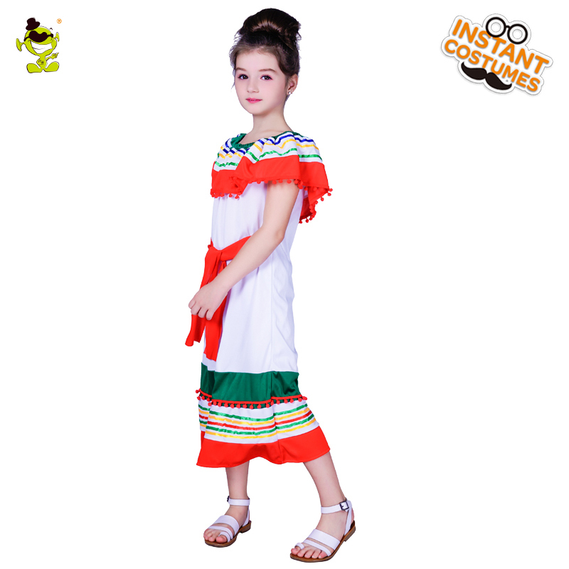 New Design Girl s Off shoulder Rainbow Mexican Costumes Kids Sexy Mexico  Girl Decoration Fancy Dress for Carnival Party Shows -in Girls Costumes from  ... d0e2fac6dd92