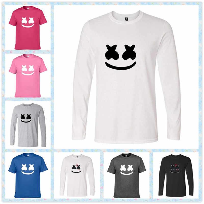 DJ Marshmallo забавная футболка большие мальчики девочки летние короткие топы Повседневная одежда для взрослых Marshmello косплей костюм для женщин и мужчин