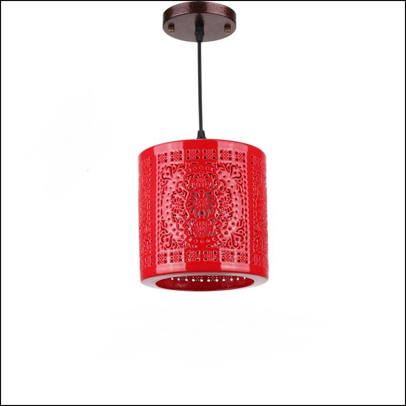 Ceramic glass Chinese red lanterns balcony aisle entrance hall aisle lamp Chinese Pendant small cylindrical Pendant Light red lanterns vol 6