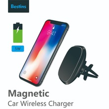 Bestins Qi Car Wireless Charger Fast Magnetic Vehicle Mount Phone Holder Pad For iPhone 7/X/8 Xiaomi 8 Samsung S8 S9