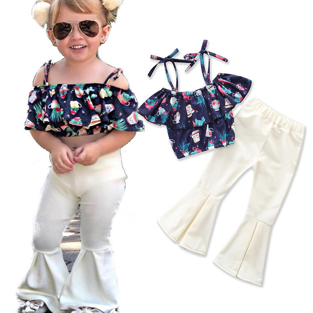 ae5a0627d9c926 2PCS Toddler Kids Girl Clothing Set Flower Off shoulder Tank Tops + Bell  Bottom Trouser Outfits Children Summer Clothes