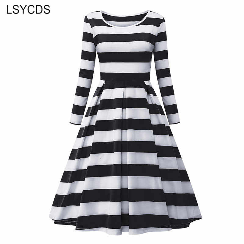 LSYCDS 2019 Spring Women's Dress 3/4 Sleeve Knee length A Line Vintage Dress Casual Striped Female Robes Elegant Vestidos mujer