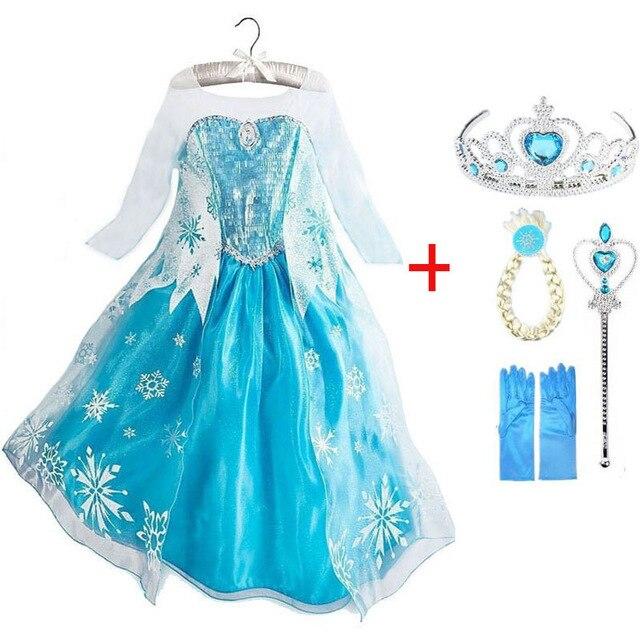 Платье Эльзы для девочек; Новинка; костюмы Снежной Королевы для детей; платья для костюмированной вечеринки; платье принцессы; disfraz carnaval vestido de festa infantil congelados - Цвет: elsa set E